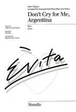 Don't Cry For Me Argentina Show Singles Sheet Music