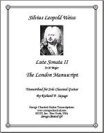 Lute Sonata II in D Major from the London Manuscript for Solo Classical Guitar Sheet Music