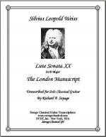 Lute Sonata XX in D Major from the London Manuscript for Solo Classical Guitar Sheet Music