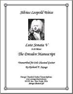 Lute Sonata V in D Minor from the Dresden Manuscript for Solo Classical Guitar Sheet Music