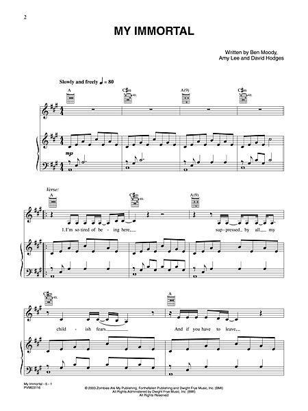 Fantastic My Immortal Chords Piano Ideas - Basic Guitar Chords For ...