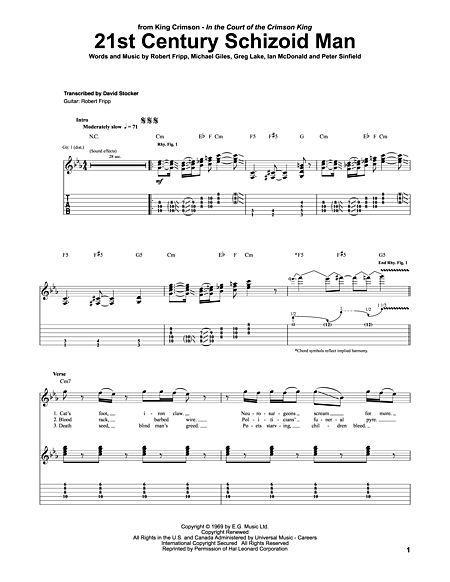 21st Century Schizoid Man Sheet Music