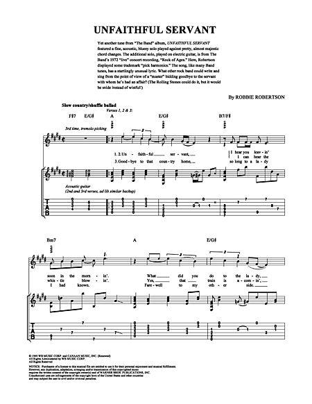 Unfaithful Servant Sheet Music
