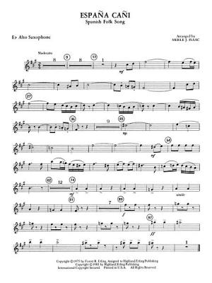 picture about Free Printable Alto Saxophone Sheet Music known as España Cañi: E-flat Alto Saxophone - Sheet Audio Inventory
