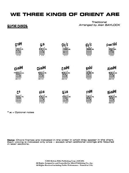 Three Kings Of Orient Are Guitar Chords Sheet Music