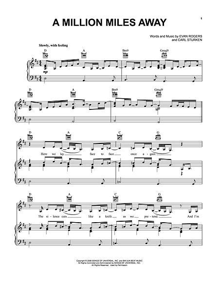 A Million Miles Away Sheet Music