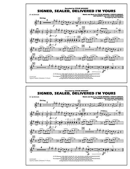 Sealed Delivered Im Yours Eb Alto Sax Sheet Music