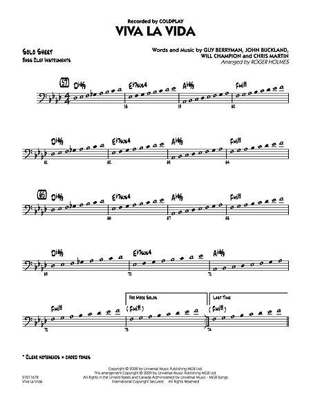 La Vida C Bass Clef Solo Sheet Music