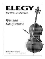Elegy - For Cello And Piano (Mvt. 2 From Concerto For Cello And Orchestra) SOLO PART WITH PIANO REDU Sheet Music
