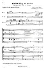 In The Giving, We Receive - CHORAL PART(S) Sheet Music