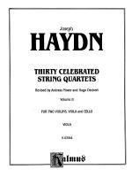Thirty Celebrated String Quartets, Volume II - Op. 3, Nos. 3, 5; Op. 20, Nos. 4, 5, 6; Op. 33, Nos.  Sheet Music