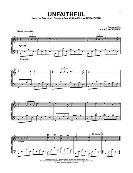 Unfaithful Sheet Music