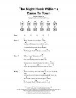 The Night Hank Williams Came To Town Sheet Music