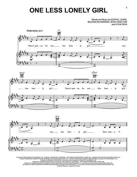 One Less Lonely Girl Sheet Music