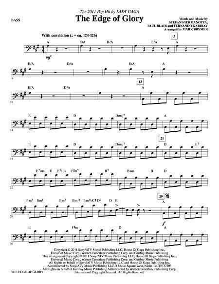 The Edge Of Glory - Bass Sheet Music