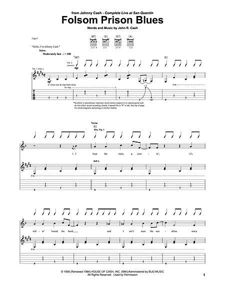 Folsom Prison Blues Sheet Music
