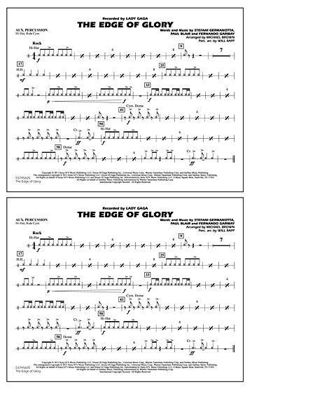 The Edge Of Glory - Aux Percussion Sheet Music