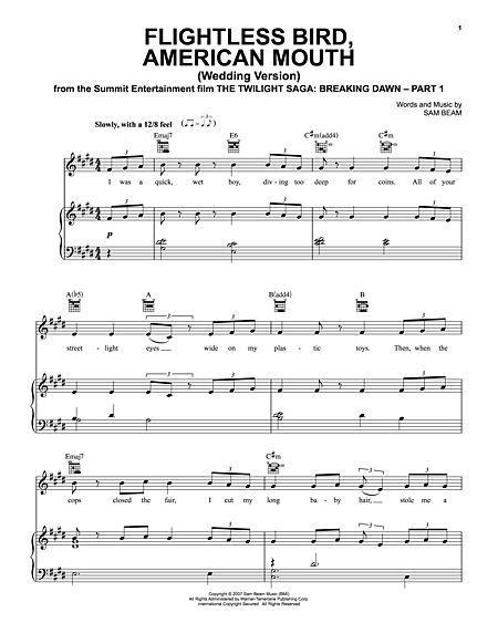 Flightless Bird American Mouth Wedding Version Sheet Music