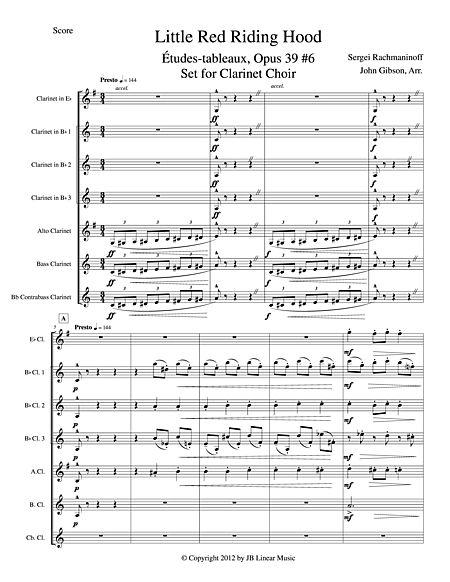 Little Red Riding Hood By Rachmaninoff For Clarinet Choir Sheet Music