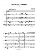 Here We Come A-Wassailing - Jazz Carol for Flute Quartet Sheet Music