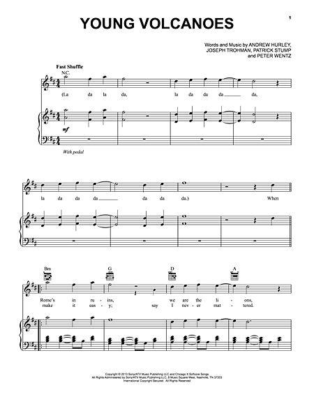 Guitar young volcanoes guitar chords : Young Volcanoes Sheet Music